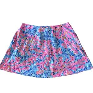 Lilly Pulitzer Bright color pink and blue mini Skort skirt with shorts size S